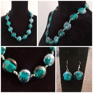 Jewelry - Gorgeous Teal Glass Marble Necklace and Earrings